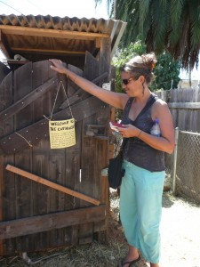 My friend Nani Steele, author of My Nepenthe, peruses the outhouse behind the house.