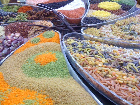 An array of grains on display at the Fancy Food Show