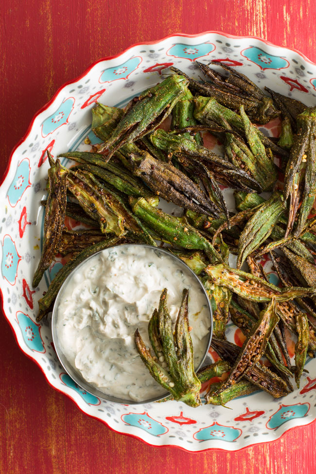 photo of okra with spicy dipping sauce