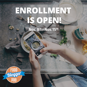 image for open enrolment Food Blogger Pro